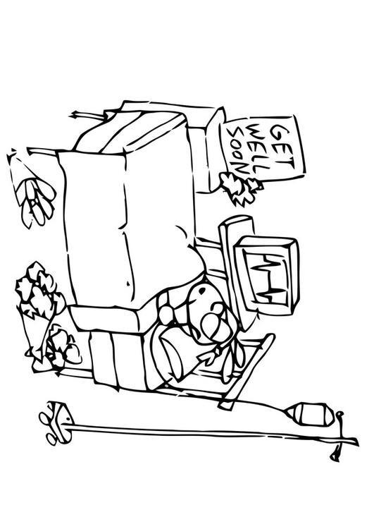 Coloriage et dessins gratuits Le Patient dans son Lit à L'Hôpital à imprimer