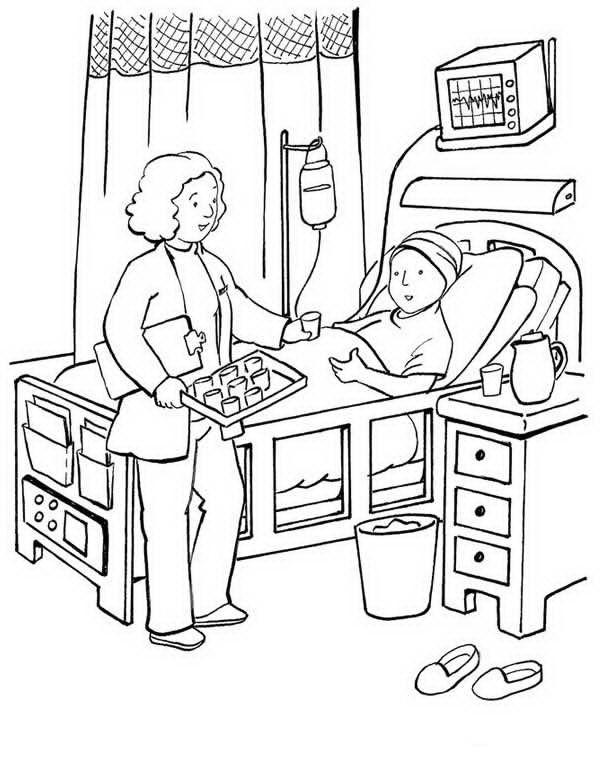 Coloriage et dessins gratuits Le Patient prends ses médicaments à imprimer