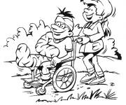Coloriage Le Patient se promène dans sa chaise roulante