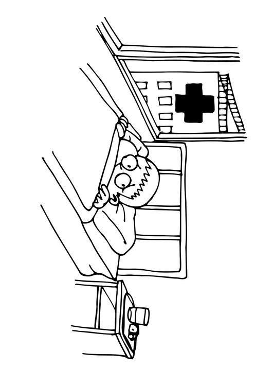 Coloriage et dessins gratuits Le Petit Patient effrayé de L'Hôpital à imprimer