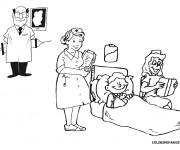 Coloriage Le traitement de L'enfant à L'Hôpital