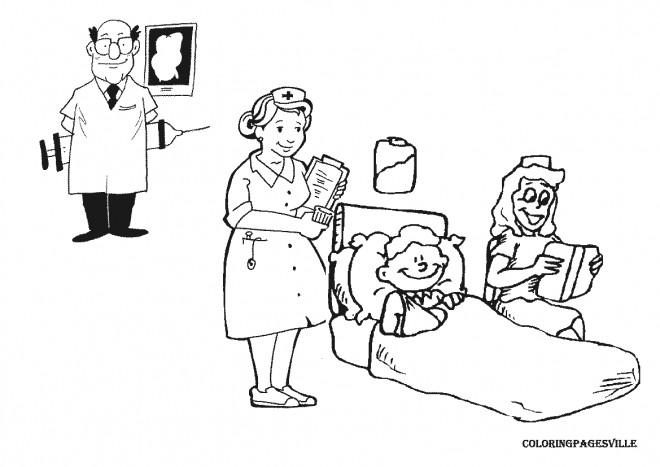 Coloriage et dessins gratuits Le traitement de L'enfant à L'Hôpital à imprimer