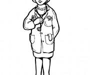 Coloriage Portrait de Docteur Femme
