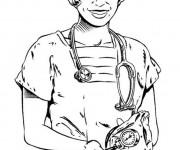 Coloriage Une Docteur avec Stéthoscope