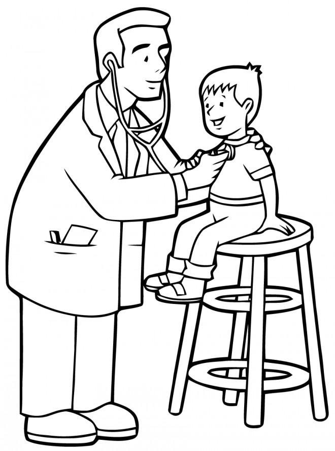 Coloriage et dessins gratuits Visite médical à L'Hôpital à imprimer