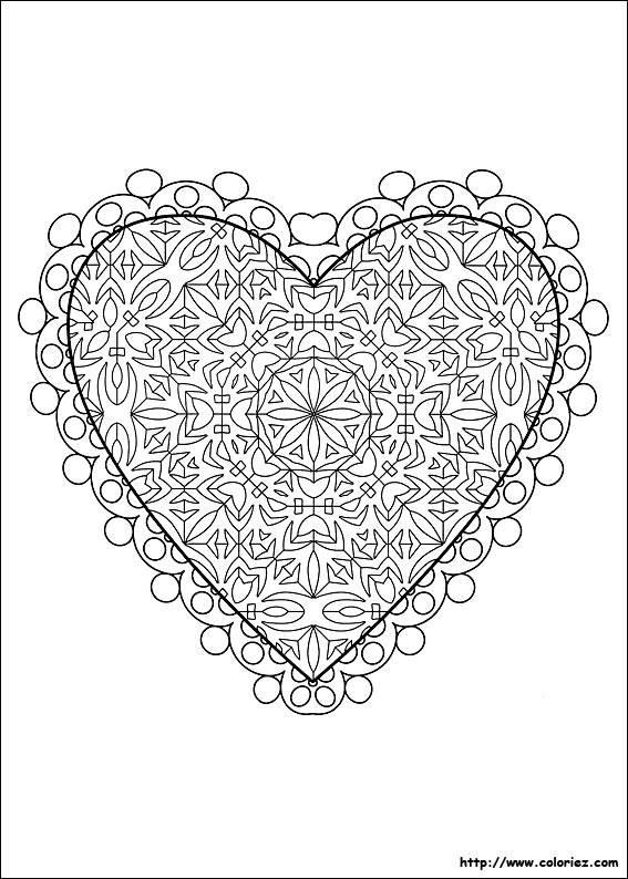 Coloriage et dessins gratuits Coeur d'amour complexe à imprimer