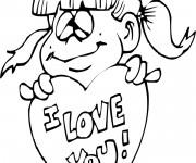 Coloriage et dessins gratuit Fille exprime L'amour à imprimer
