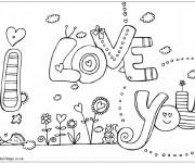 Coloriage dessin  I Love You 3