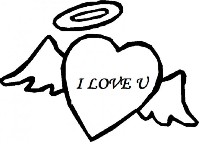 Coloriage et dessins gratuits I Love You Ange d'amour à imprimer