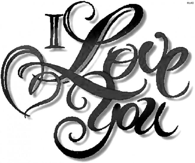 Coloriage et dessins gratuits I Love You Artistique à imprimer