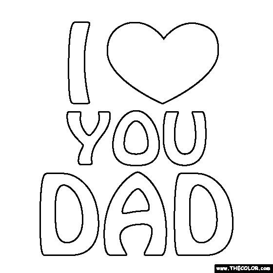Coloriage et dessins gratuits I Love You Dad en noir et blanc à imprimer