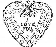 Coloriage et dessins gratuit I Love You dans Un Coeur décoré à imprimer