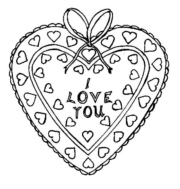 Coloriage et dessins gratuits I Love You dans Un Coeur décoré à imprimer