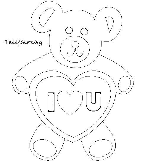 Coloriage et dessins gratuits I Love You dans Un Ours à imprimer