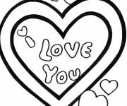 Coloriage I Love You en couleur pour Les Amoureux