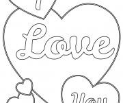 Coloriage et dessins gratuit I Love You en Ligne à imprimer