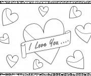 Coloriage et dessins gratuit I Love You et Coeurs partout à imprimer