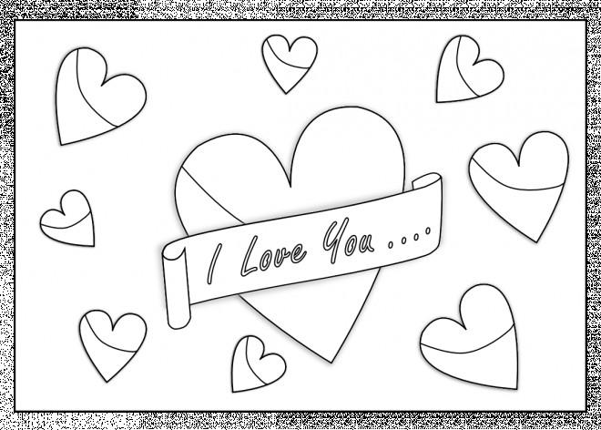 Coloriage I Love You Et Coeurs Partout Dessin Gratuit à Imprimer