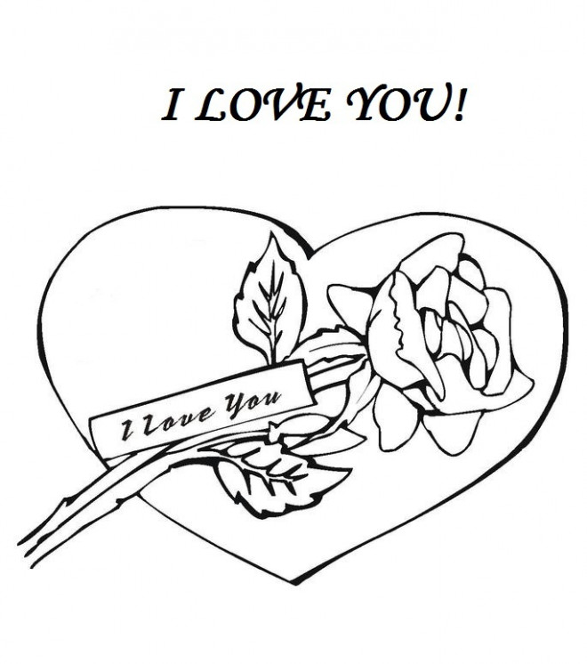 Coloriage et dessins gratuits I Love You et Fleur pour amoureux à imprimer