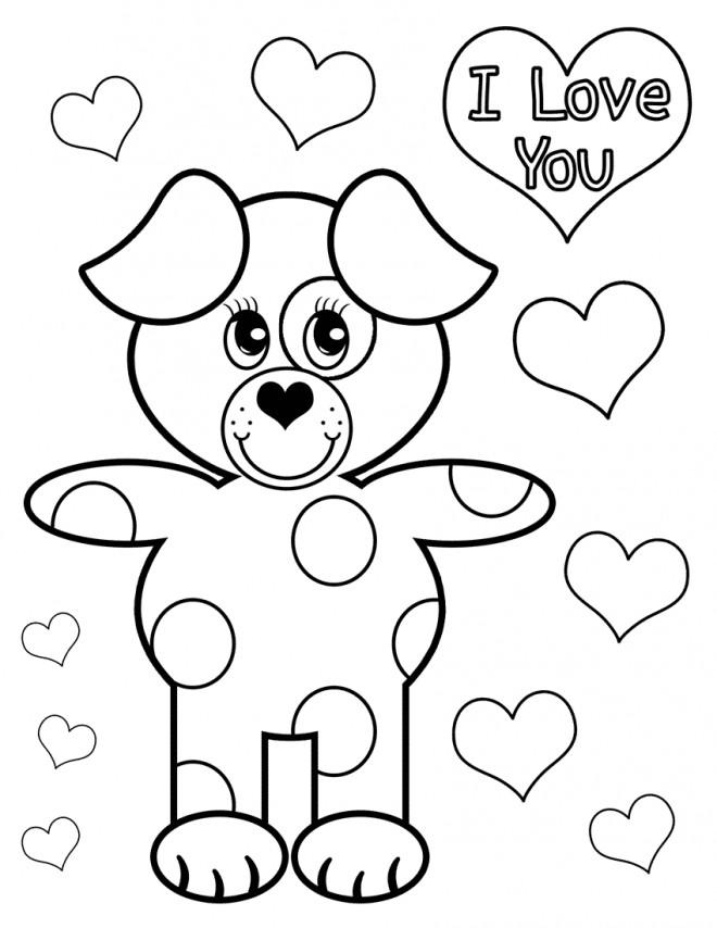 Coloriage De Chien Amoureux.Coloriage I Love You Le Chien Amoureux Dessin Gratuit A Imprimer