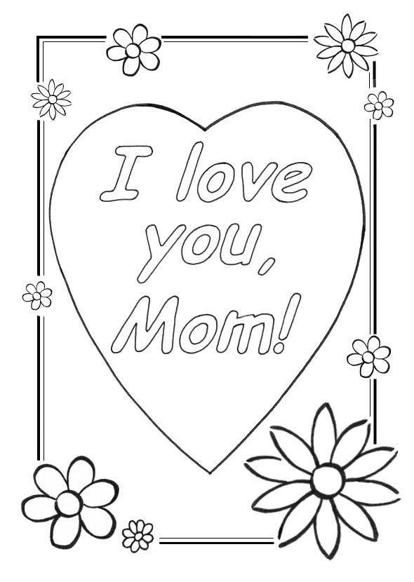 Coloriage et dessins gratuits I Love You Maman à imprimer