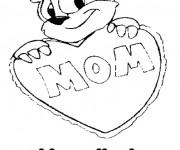 Coloriage I Love You Mom à découper