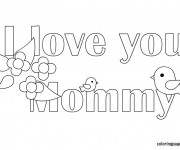 Coloriage I Love You Mommy facile