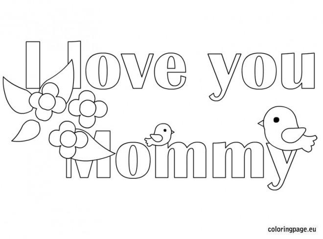 Coloriage et dessins gratuits I Love You Mommy facile à imprimer