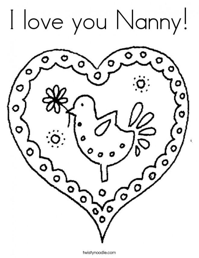 Coloriage et dessins gratuits I Love You Nounou à imprimer
