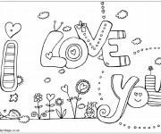 Coloriage I Love You stylisé