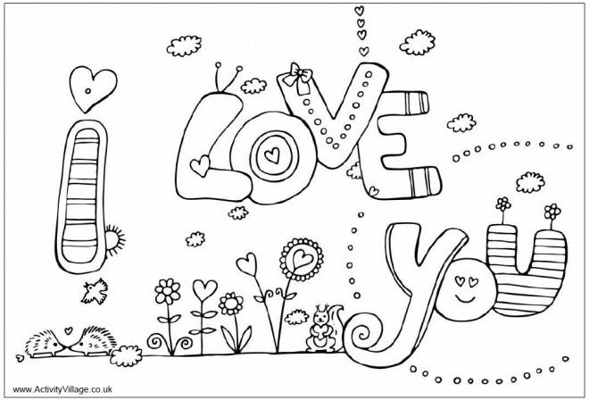 Coloriage et dessins gratuits I Love You stylisé à imprimer
