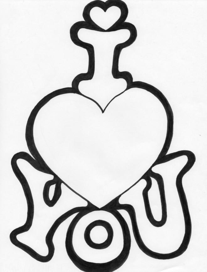 Coloriage et dessins gratuits I Love You vectoriel à imprimer