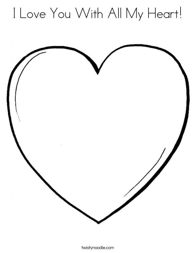 Coloriage et dessins gratuits Je T'aime de tout mon Coeur à imprimer