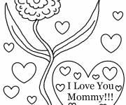 Coloriage et dessins gratuit Je T'aime Maman avec fleur à imprimer