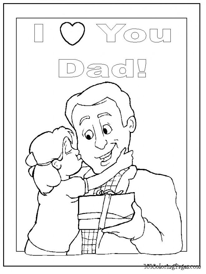 Coloriage et dessins gratuits Je T'aime pour Les Pères à imprimer