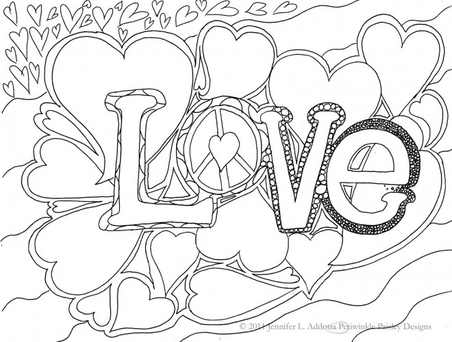 Coloriage et dessins gratuits Love décoré avec des Coeurs à imprimer