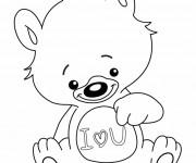 Coloriage et dessins gratuit Ours porte Un coeur d'amour à imprimer