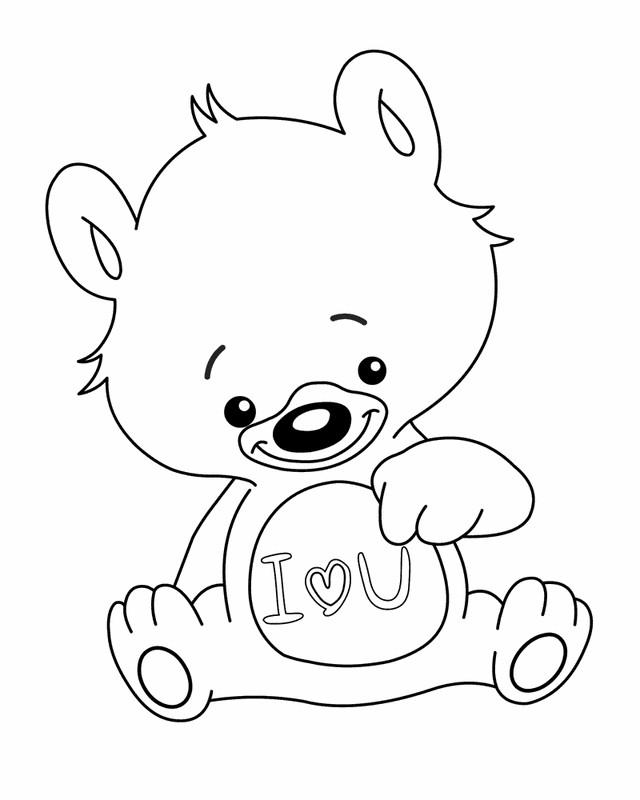 Coloriage et dessins gratuits Ours porte Un coeur d'amour à imprimer