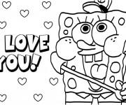 Coloriage Spongebob vous aime