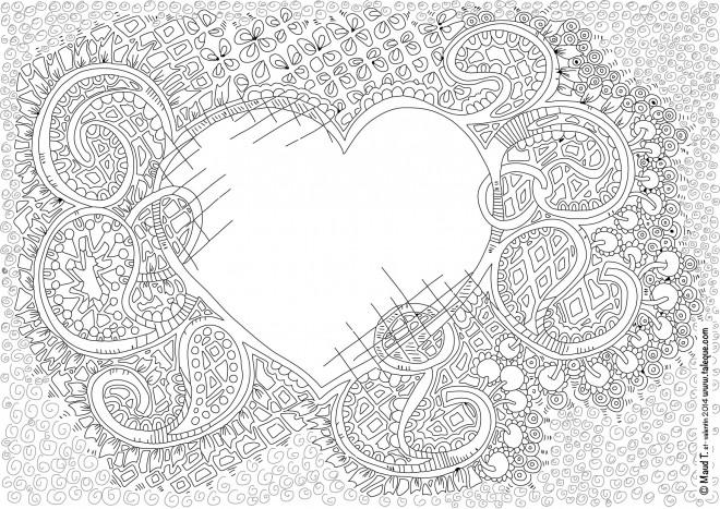 Coloriage et dessins gratuits Inspiration Zen Coeur d'amour à imprimer