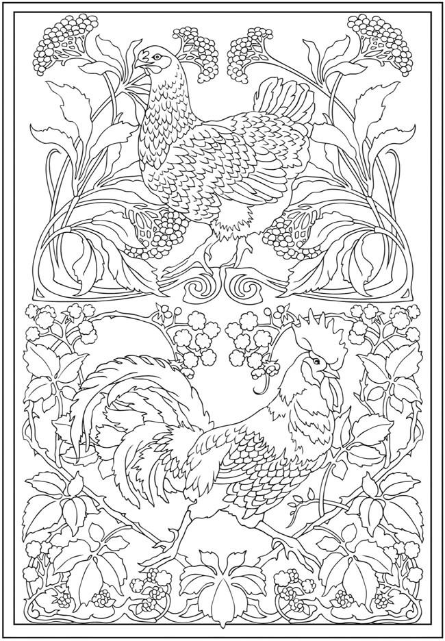 Coloriage et dessins gratuits Inspiration Zen Coq et Poulet à imprimer