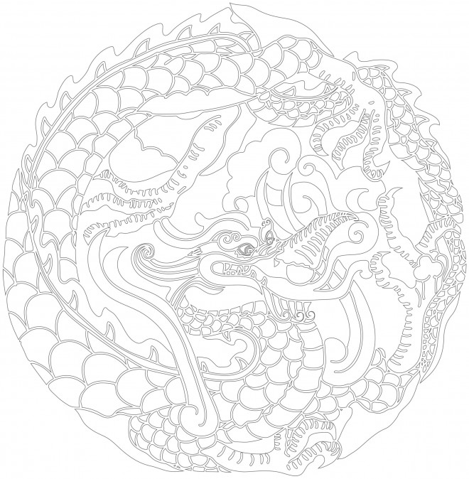 Coloriage et dessins gratuits Inspiration Zen Dragon chinois à imprimer