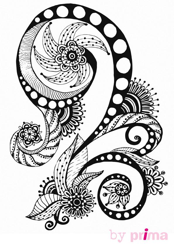 Coloriage et dessins gratuits Inspiration Zen en noir et blanc à imprimer