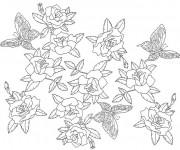 Coloriage et dessins gratuit Inspiration Zen Fleurs et Papillon à imprimer