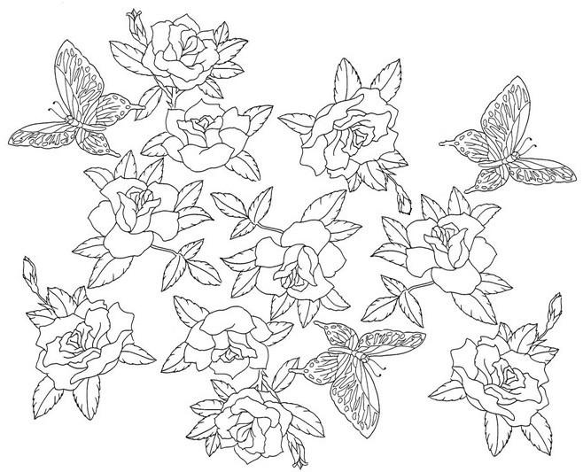 Coloriage et dessins gratuits Inspiration Zen Fleurs et Papillon à imprimer