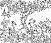 Coloriage et dessins gratuit Inspiration Zen Paysage de Jardin à imprimer