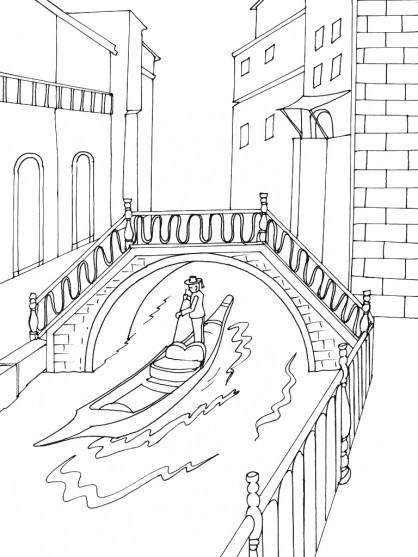 Coloriage et dessins gratuits Canaux de Venise à imprimer
