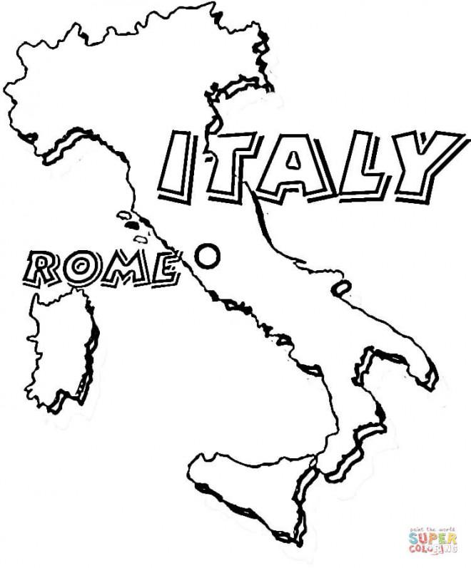 Coloriage et dessins gratuits Carte d'Italie en couleur à imprimer