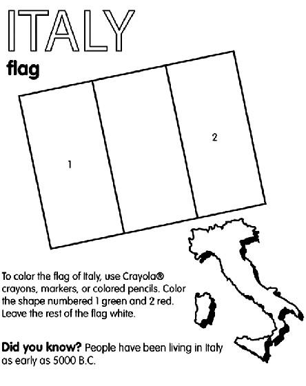 Coloriage et dessins gratuits Carte et Drapeau de L'Italie à imprimer