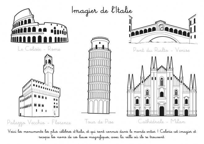 Coloriage et dessins gratuits Imagier de L'Italie à imprimer